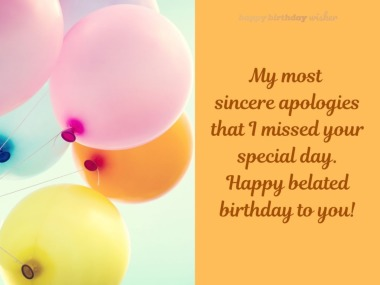 My most sincere apologies