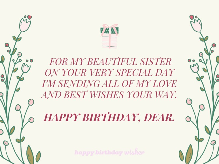 Sending my best wishes to you, sis