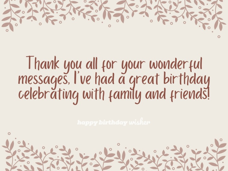 Thank you for the wonderful messages