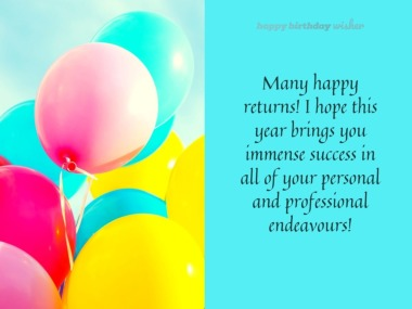 Wishing you success in all of your endeavours